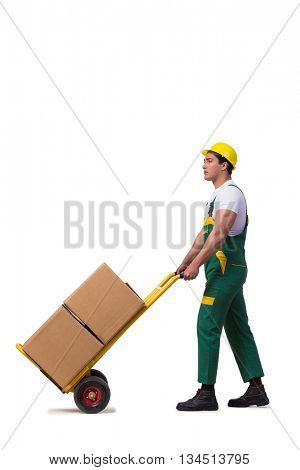Man moving boxes isolated on the white background