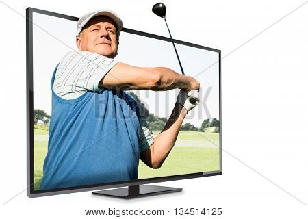 View of a man playing golf against view of a park