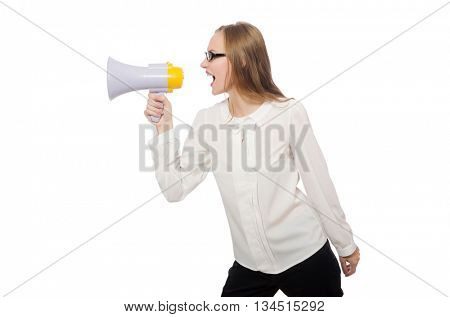 Woman with loudspeaker isolated on white