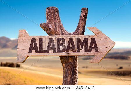 Alabama directional arrow in a desert
