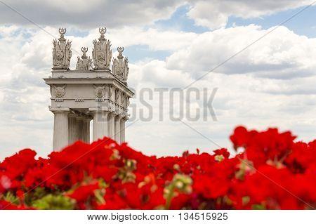 Via Santo Stefano and Portico Columns Bologna Italy