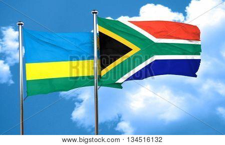Rwanda flag with South Africa flag, 3D rendering
