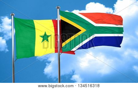 Senegal flag with South Africa flag, 3D rendering