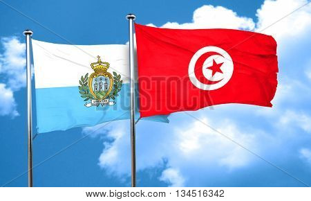 san marino flag with Tunisia flag, 3D rendering