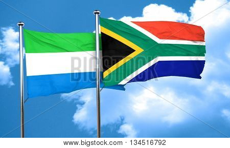 Sierra Leone flag with South Africa flag, 3D rendering