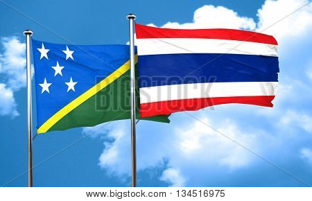 Solomon islands flag with Thailand flag, 3D rendering