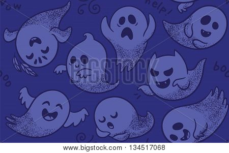 Cute spooky ghosts on purple background. Seamless vector Halloween pattern with ghosts child drawing style. Ghosts with Different Expressions
