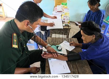 LANG SON, Vietnam, June 11, 2016 military combatant groups, clinic for the elderly, free, high mountains, Lang Son Province, Vietnam
