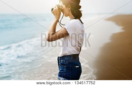 Beach Camera Explore Photograph Woman Girl Concept