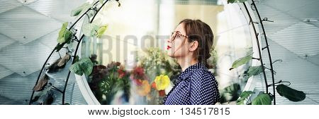 Young Woman Beauty Flowers Design Concept