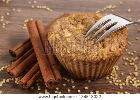 Fresh Muffin With Millet Groats, Cinnamon And Apple Baked With Wholemeal Flour, Delicious Healthy De