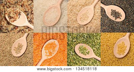 collection rice,lentils and split pea