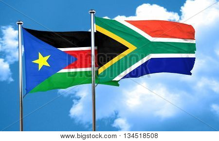 south sudan flag with South Africa flag, 3D rendering