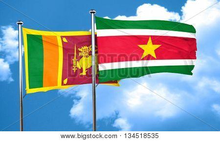 Sri lanka flag with Suriname flag, 3D rendering