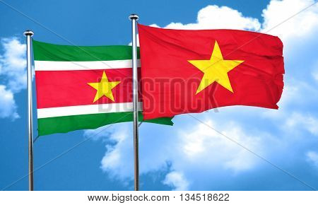 Suriname flag with Vietnam flag, 3D rendering