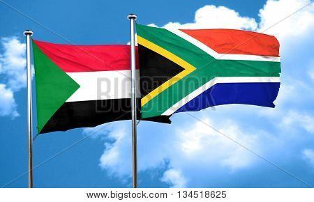 Sudan flag with South Africa flag, 3D rendering