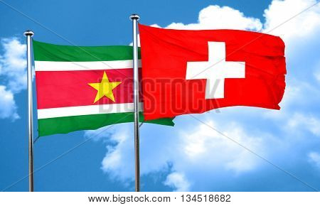 Suriname flag with Switzerland flag, 3D rendering