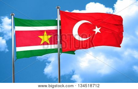 Suriname flag with Turkey flag, 3D rendering