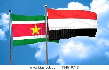 Suriname flag with Yemen flag, 3D rendering