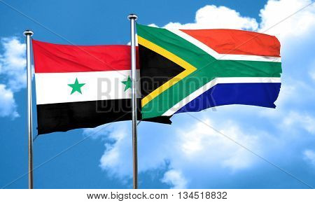 Syria flag with South Africa flag, 3D rendering