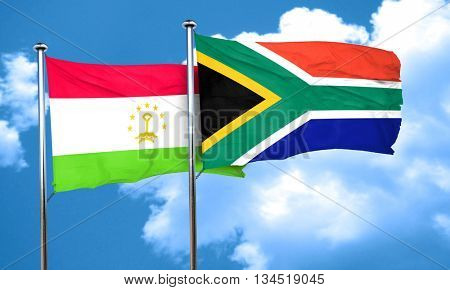 Tajikistan flag with South Africa flag, 3D rendering