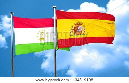 Tajikistan flag with Spain flag, 3D rendering