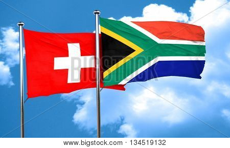 switzerland flag with South Africa flag, 3D rendering