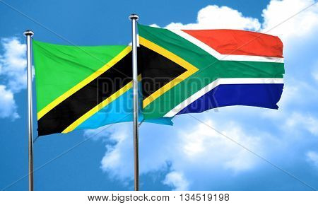Tanzanian flag with South Africa flag, 3D rendering
