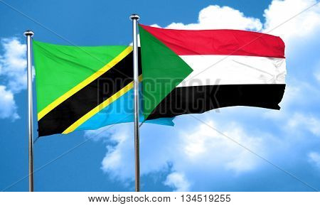 Tanzanian flag with Sudan flag, 3D rendering