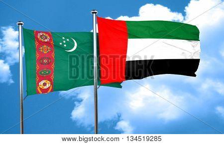 Turkmenistan flag with UAE flag, 3D rendering