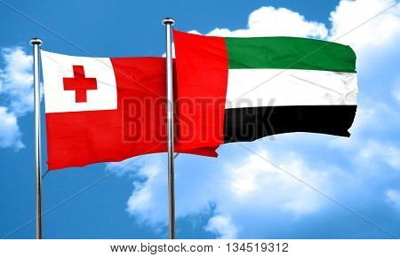 Tonga flag with UAE flag, 3D rendering