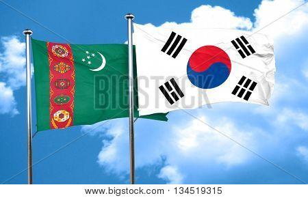Turkmenistan flag with South Korea flag, 3D rendering