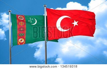 Turkmenistan flag with Turkey flag, 3D rendering