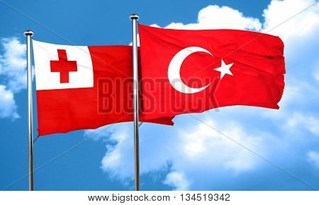 Tonga flag with Turkey flag, 3D rendering