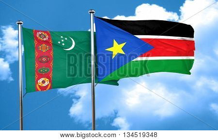 Turkmenistan flag with South Sudan flag, 3D rendering