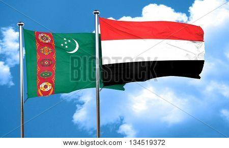 Turkmenistan flag with Yemen flag, 3D rendering