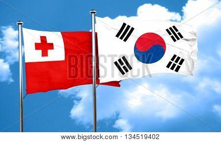 Tonga flag with South Korea flag, 3D rendering
