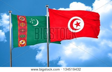 Turkmenistan flag with Tunisia flag, 3D rendering