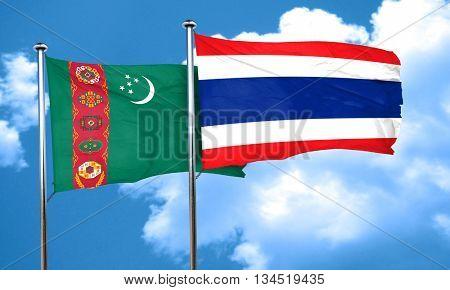 Turkmenistan flag with Thailand flag, 3D rendering