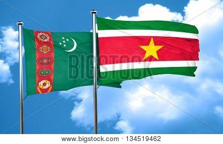 Turkmenistan flag with Suriname flag, 3D rendering