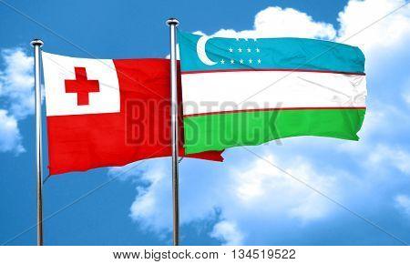 Tonga flag with Uzbekistan flag, 3D rendering