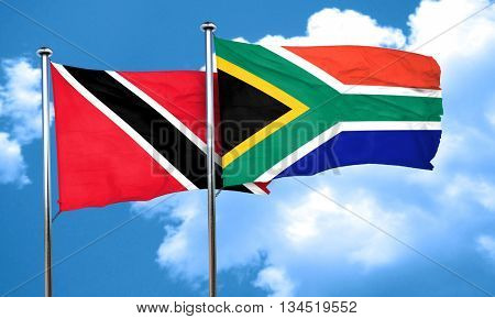Trinidad and tobago flag with South Africa flag, 3D rendering