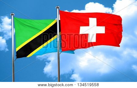 Tanzanian flag with Switzerland flag, 3D rendering