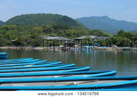 Canoe landing on Katsura River in Arashiyama near Kyoto, Japan