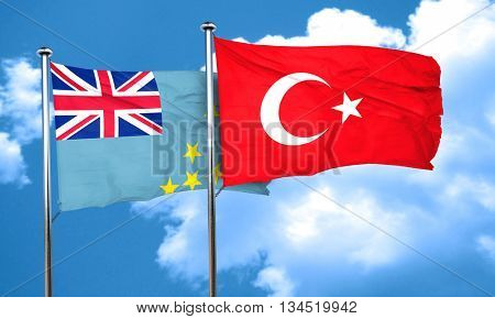 Tuvalu flag with Turkey flag, 3D rendering