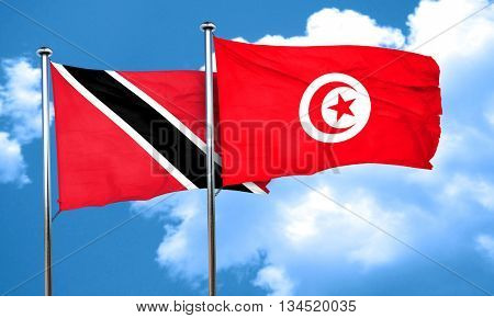 Trinidad and tobago flag with Tunisia flag, 3D rendering