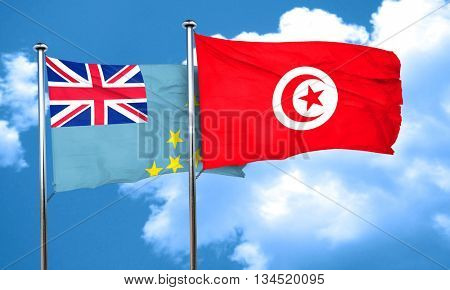 Tuvalu flag with Tunisia flag, 3D rendering