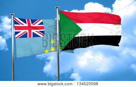 Tuvalu flag with Sudan flag, 3D rendering