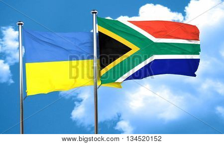 Ukraine flag with South Africa flag, 3D rendering