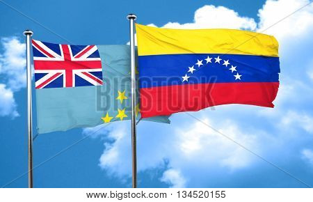 Tuvalu flag with Venezuela flag, 3D rendering